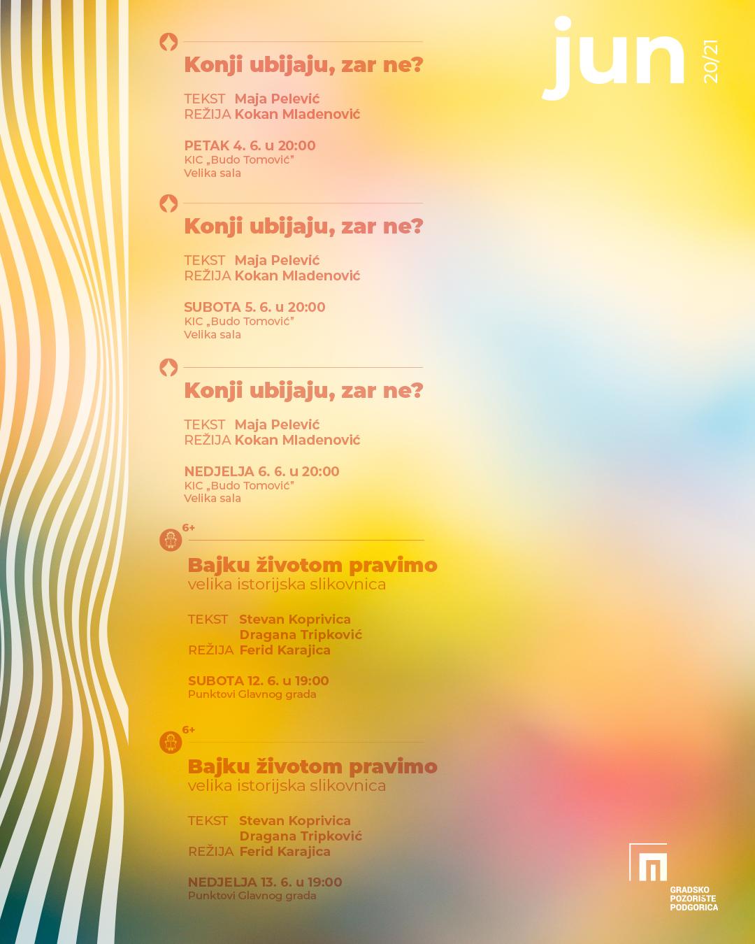 Repertoar Gradskog pozorišta Podgorica za jun mjesec