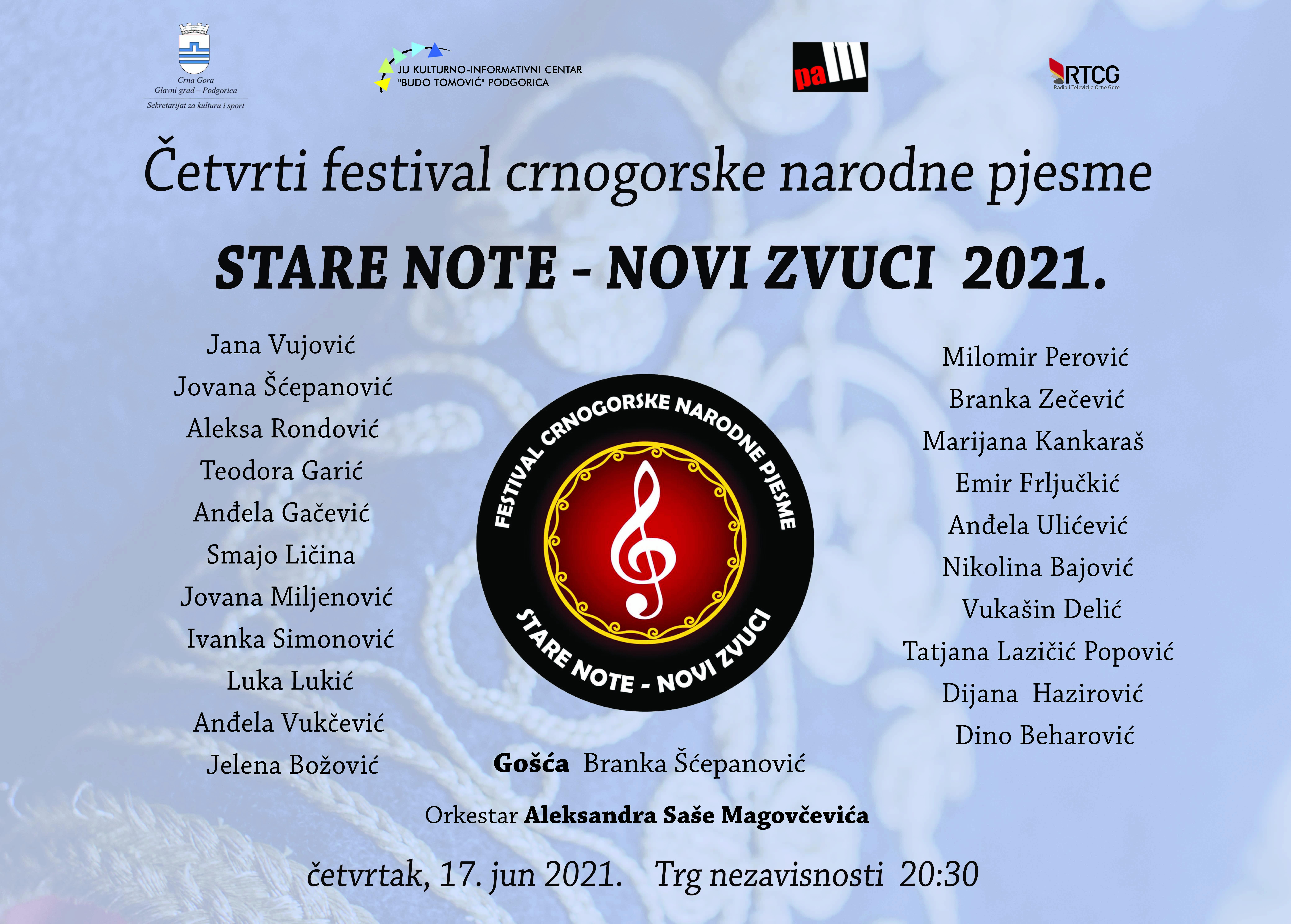 """Četvrti KIC-ov festival crnogorske narodne pjesme """"Stare note - novi zvuci"""""""