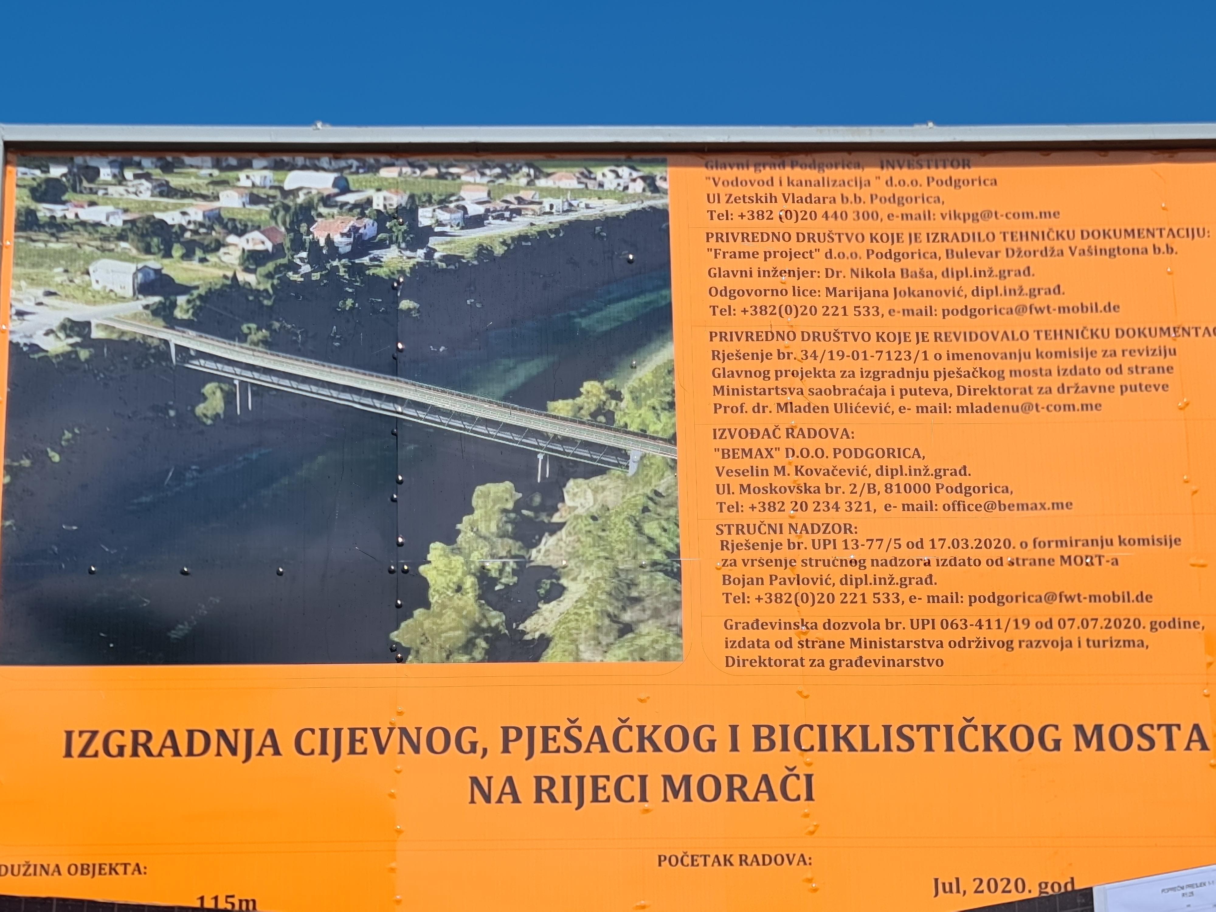 Najava: Obilazak radova na izgradnji pješačkog mosta u okviru projekta izgradnje postrojenja za prečišćavanja otpadnih voda (PPOV)