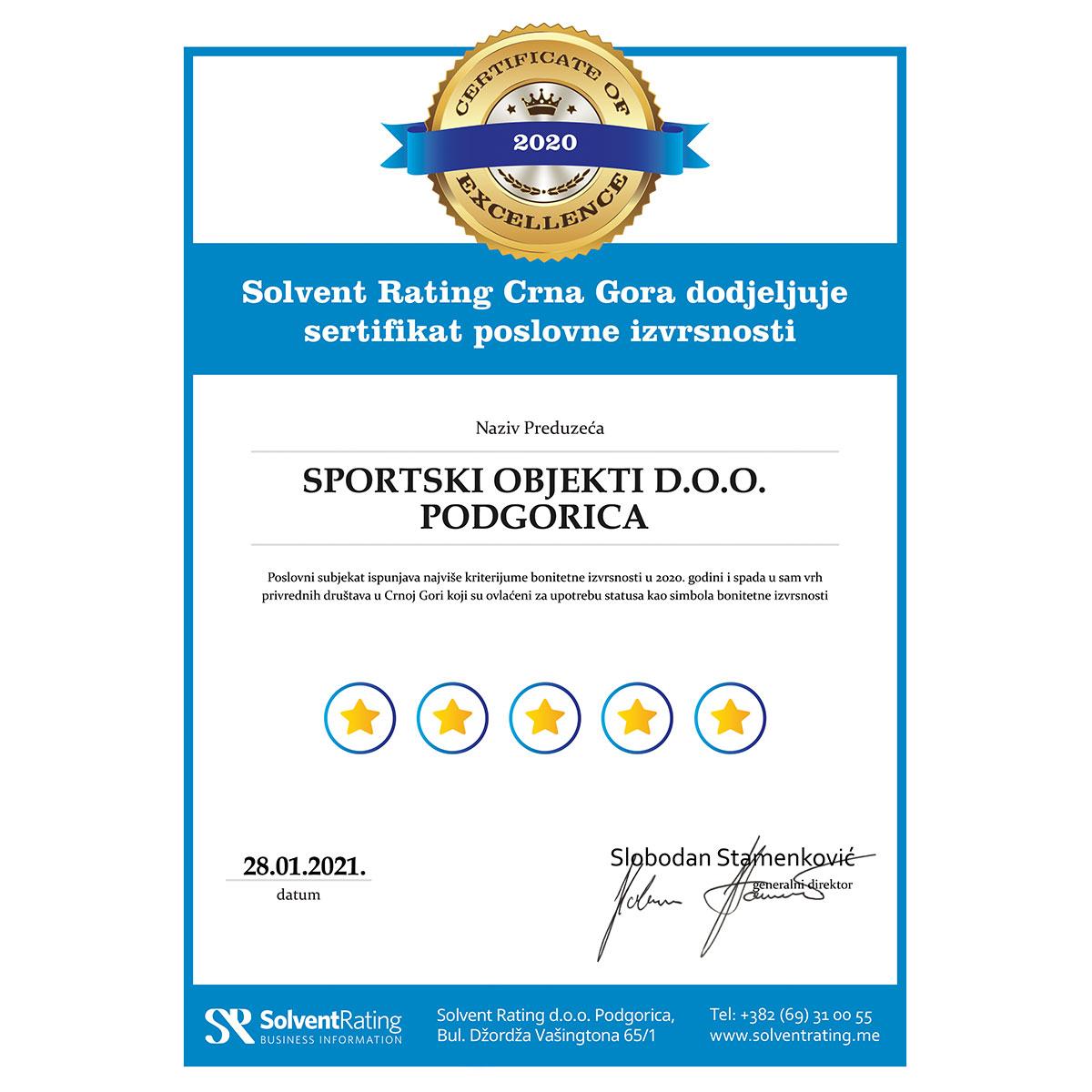 Sportski objekti Podgorice dobili sertifikat poslovne izvrsnosti